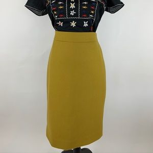 J.CREW Yellow WOOL No 2 Pencil Straight Skirt Sz 6